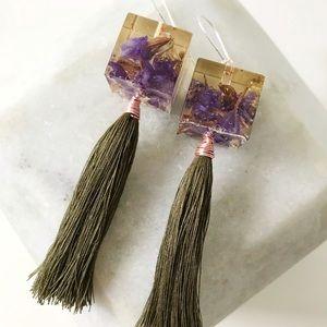 Real Dried Flower Resin Handmade Tassel Earrings
